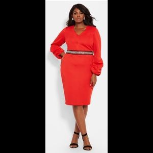 NWT Ashley Stewart Red Ballon Sleeve Dress